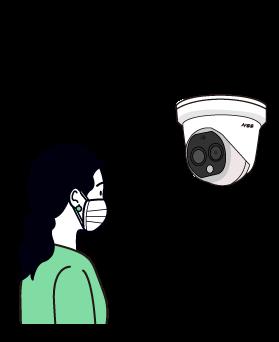 「ハンディタイプサーマルカメラ」で検温している女性のイラスト