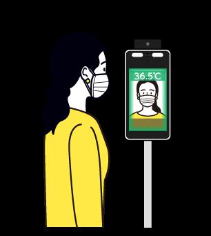 「EG-Keeper」で検温している女性のイラスト