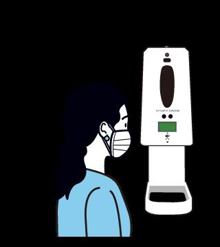 「オートマティックディスペンサー」で検温している女性のイラスト