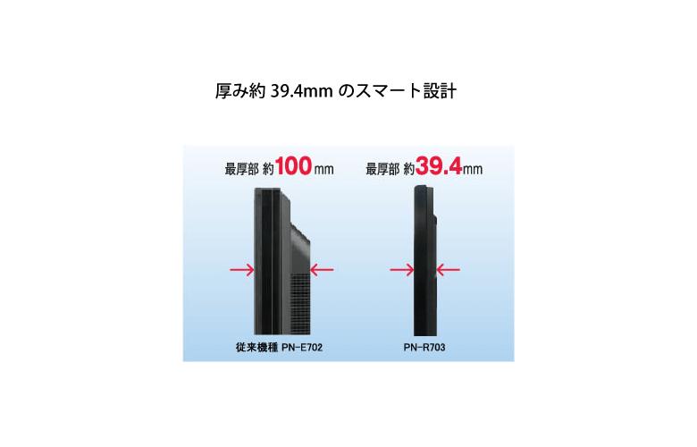 厚み約39.4mmのスマート設計