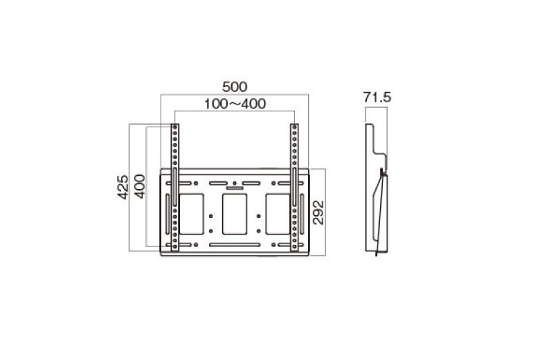 壁掛金具 MH-651B 〜55V型対応 角度固定タイプ 寸法図