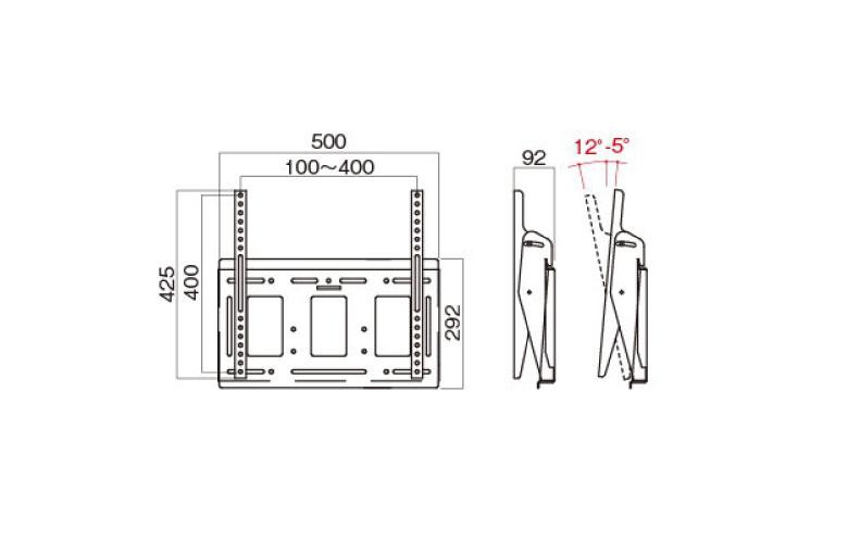 壁掛金具 MH-653B 〜55V型対応 角度調節タイプ 寸法図