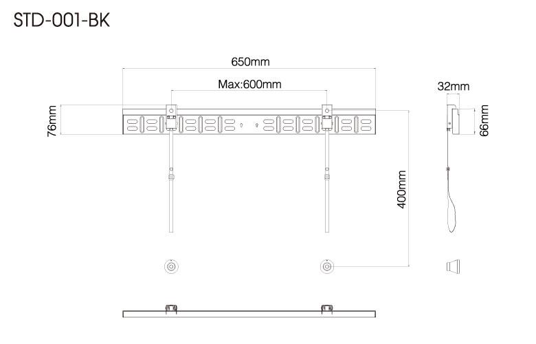 壁掛金具 STD-001-BK 40〜70V型対応 スタンダードタイプ 寸法図