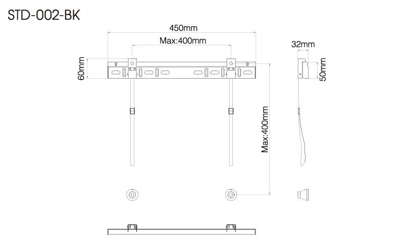 壁掛金具 STD-002-BK 26〜55V型対応 スタンダードタイプ 寸法図