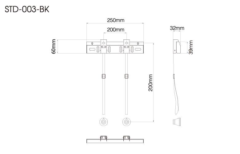 壁掛金具 STD-003-BK 26〜43V型対応 スタンダードタイプ 寸法図