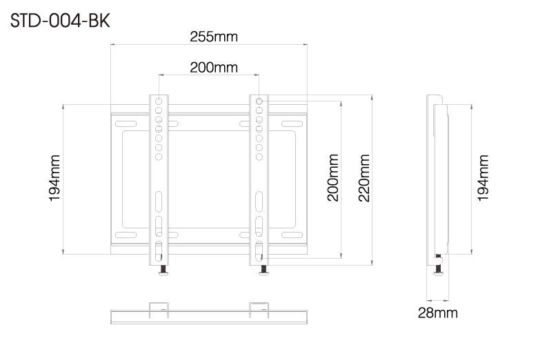 壁掛金具 STD-004-BK 26〜43V型対応 スタンダードタイプ 寸法図