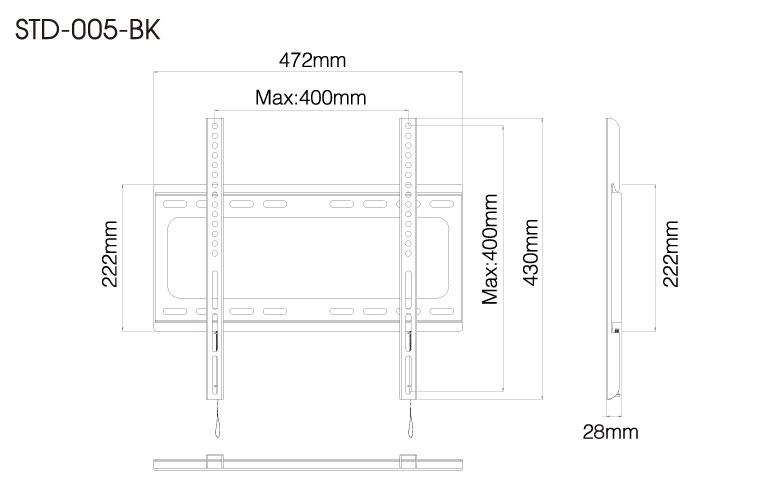 壁掛金具 STD-005-BK 26〜55V型対応 スタンダードタイプ 寸法図