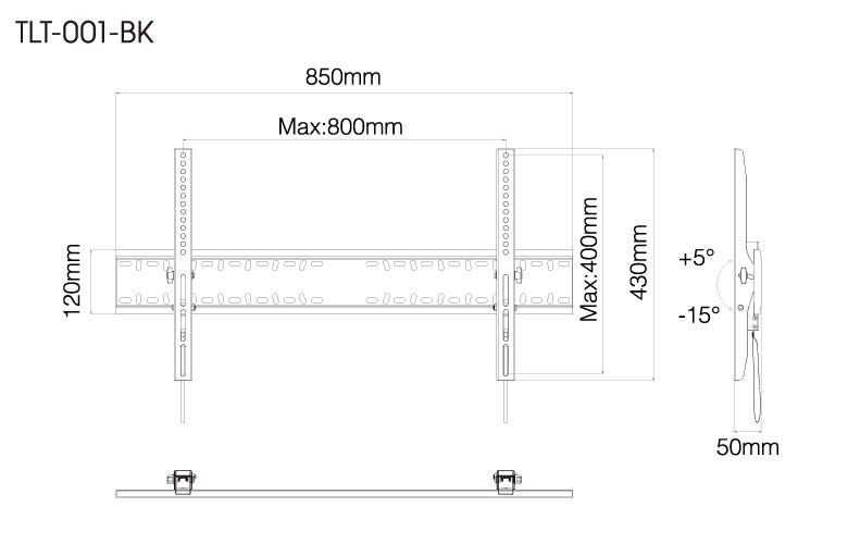 壁掛金具 TLT-001-BK 60〜84V型対応 チルトタイプ 寸法図