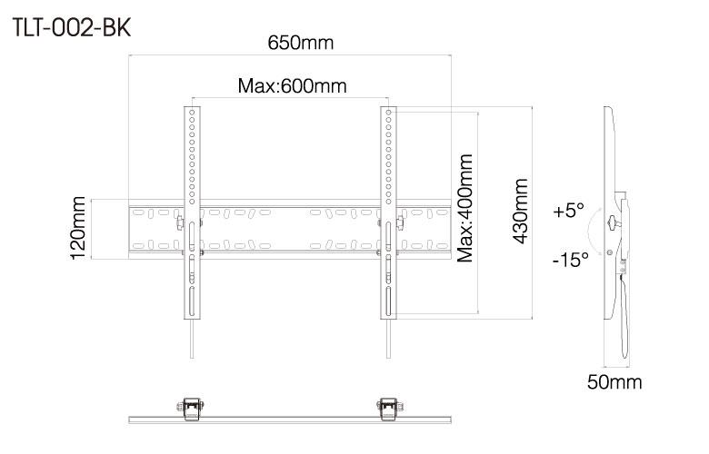 壁掛金具 TLT-002-BK 40〜70V型対応 チルトタイプ 寸法図