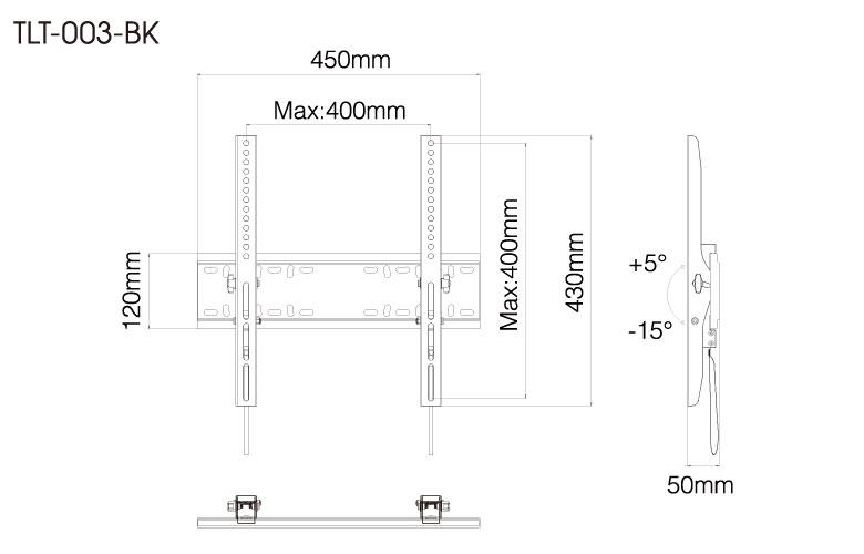 壁掛金具 TLT-003-BK 26〜55V型対応 チルトタイプ 寸法図