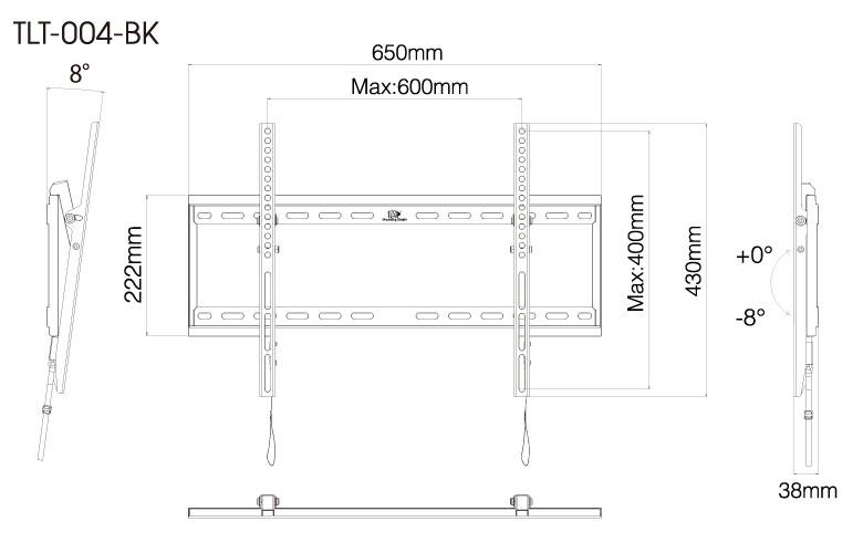 壁掛金具 TLT-004-BK 40〜70V型対応 チルトタイプ 寸法図