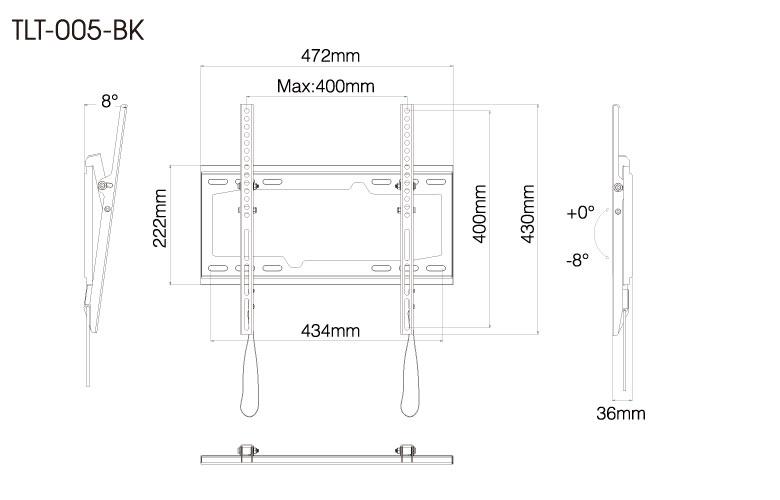 壁掛金具 TLT-005-BK 26〜55V型対応 チルトタイプ 寸法図