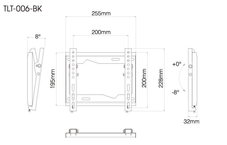 壁掛金具 TLT-006-BK 26〜43V型対応 チルトタイプ 寸法図